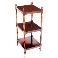 Antique English Regency Period Flame Mahogany What-Not 19th Century