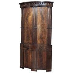 Antique English Regency Period Neoclassical Grand Corner Cabinet