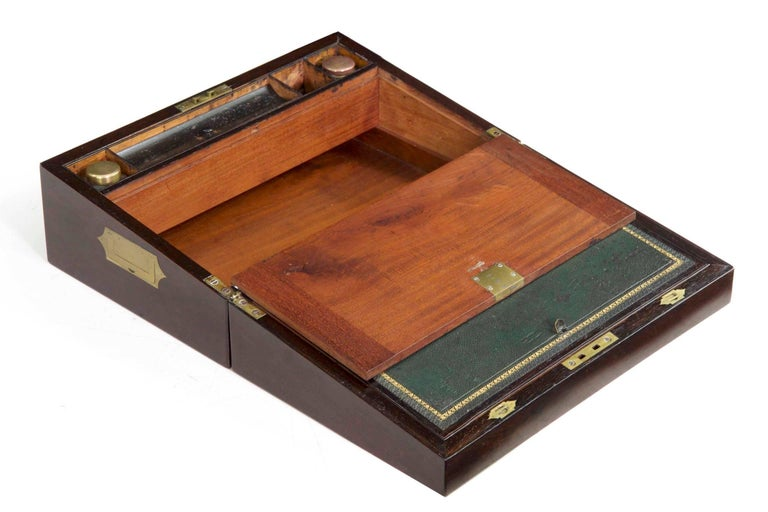 Antique English Regency Period Rosewood Lap Desk Writing Slope Box, circa 1830 For Sale 3
