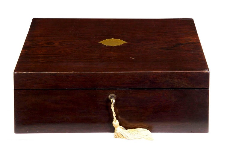 British Antique English Regency Period Rosewood Lap Desk Writing Slope Box, circa 1830 For Sale
