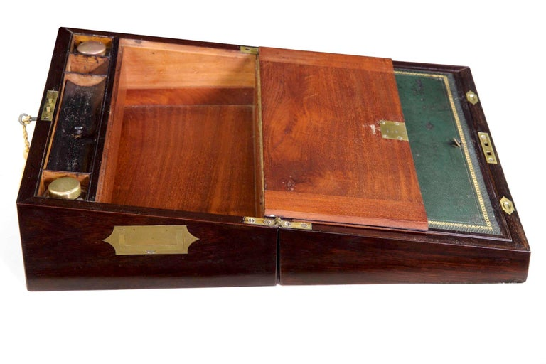 Veneer Antique English Regency Period Rosewood Lap Desk Writing Slope Box, circa 1830 For Sale