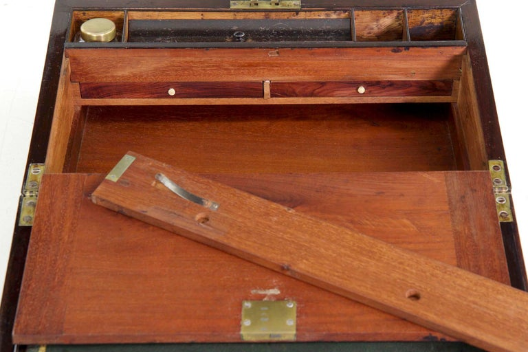 Glass Antique English Regency Period Rosewood Lap Desk Writing Slope Box, circa 1830 For Sale