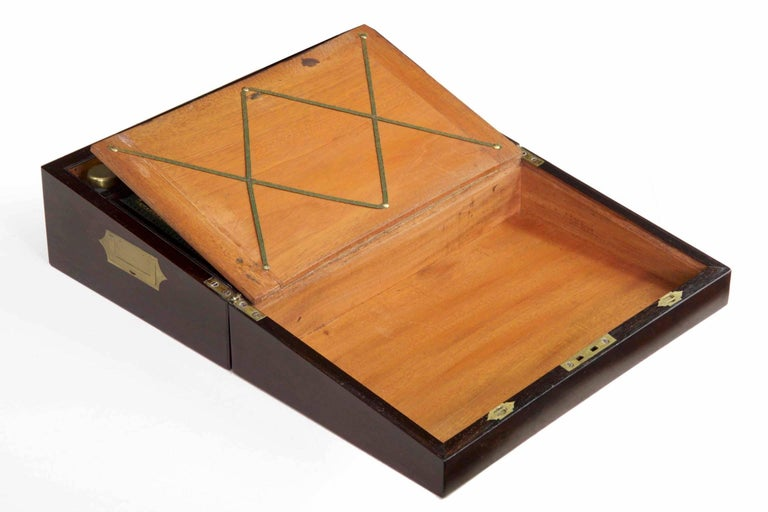 Antique English Regency Period Rosewood Lap Desk Writing Slope Box, circa 1830 For Sale 2