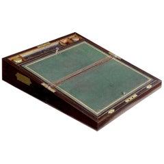 Antique English Regency Period Rosewood Lap Desk Writing Slope Box, circa 1830