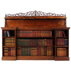 Antique English Regency Rosewood Inverted Breakfront Bookcase