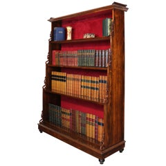 Antique English Regency Rosewood Waterfall Bookcase