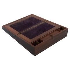 Antique English Regency Rosewood Writing Lap Desk Writing Slope Box No Key