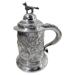 Antique English Regency Sterling Silver Fox and Horse Tankard