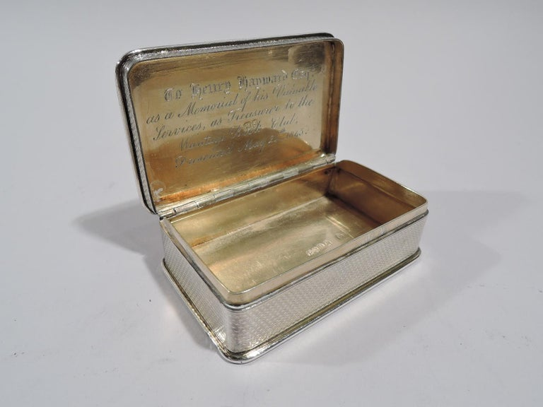 Antique English Regency Sterling Silver Hunt Dog Snuffbox For Sale 1