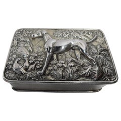 Antique English Regency Sterling Silver Hunt Dog Snuffbox