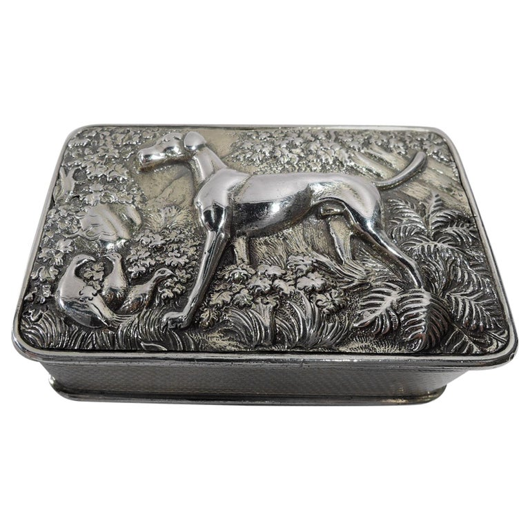 Antique English Regency Sterling Silver Hunt Dog Snuffbox For Sale