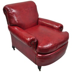 Antique English Regency Style Burgundy Red Vinyl Faux Leather Club Lounge Chair