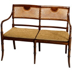 Antique English Regency Style Mahogany & Pressed Cane Settee, C1930