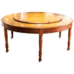 Antique English Regency Walnut Lazy Susan Table