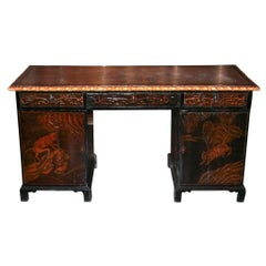 Antique English Relief Carved Desk