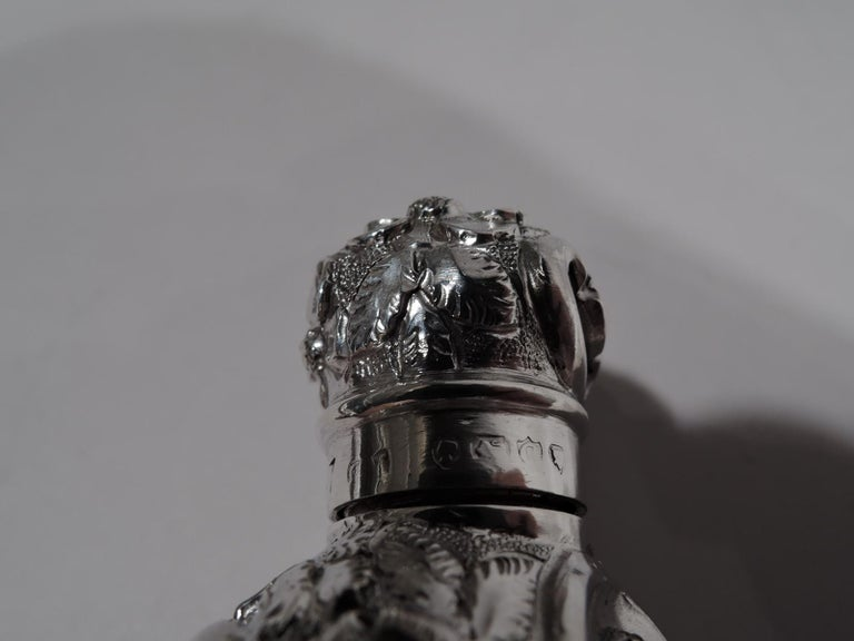 Antique English Repousse Sterling Silver Scent Bottle For Sale 1