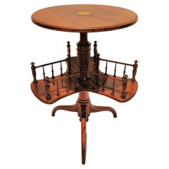 Antique English Revolving Book Table, Rosewood with Inlay circa 1875