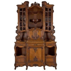 Antique English Rococo Revival Cabinet Server Buffet Deux Corps, circa 1880