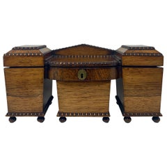 Antique English Rosewood Tea Caddy circa 1828-1830, William IV Period