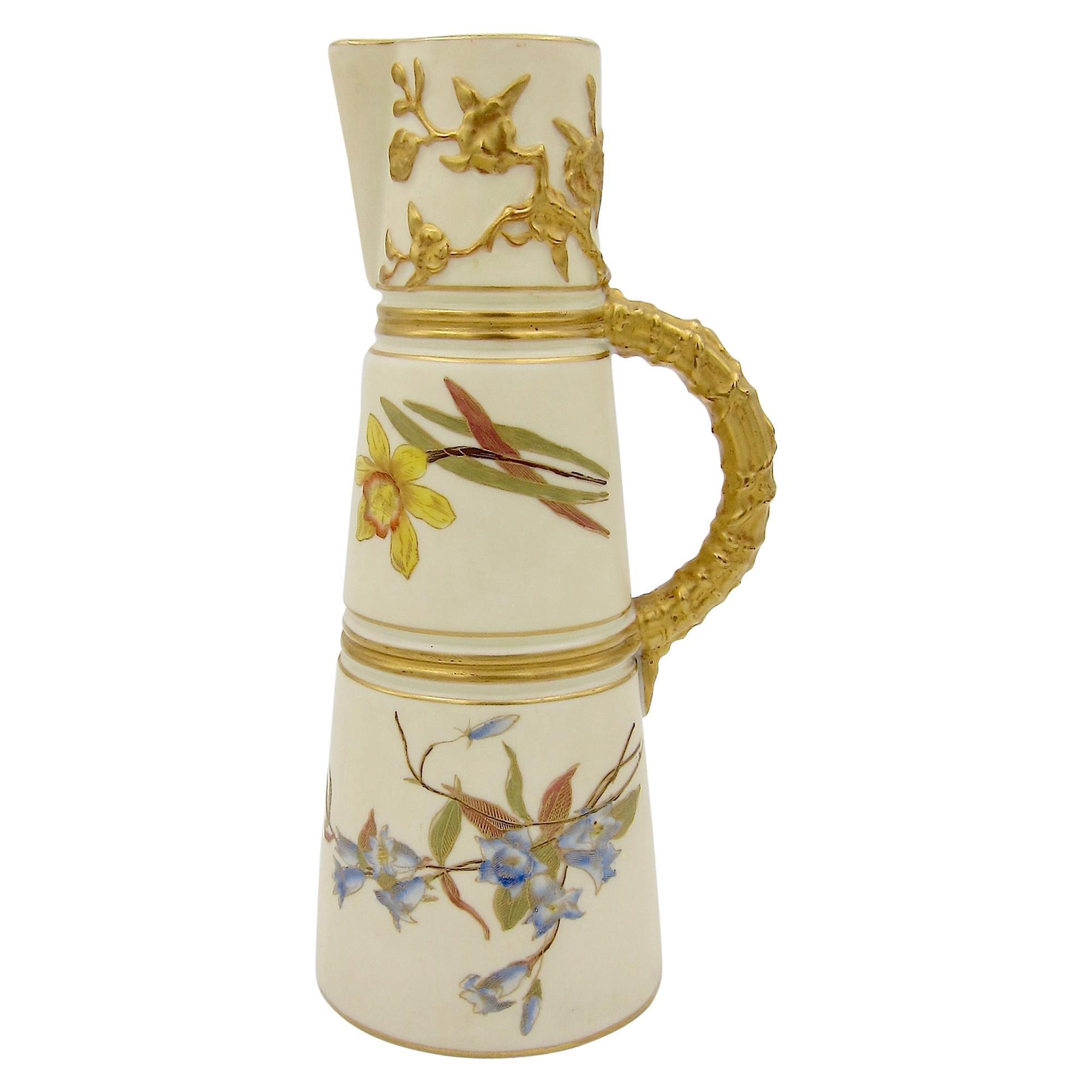 Antique English Royal Worcester Porcelain Ewer, 1892