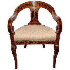 Antique English Satinwood Corner/ Tub Chair, circa 1870-1880