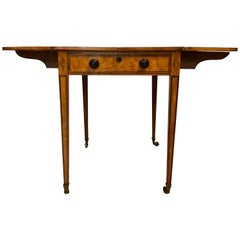 Antique English Satinwood Drop Leaf Table, circa 1810-1820