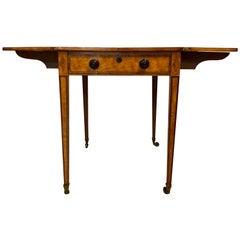 Antique English Satinwood Drop Leaf Table, circa 1810-1820