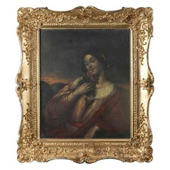 Antique English School Oil on Board Portrait Painting of European Baroness