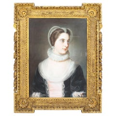 Antique English School Pastel Portrait of a Lady in Archaic Dress, 18th Century
