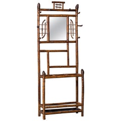 Antique English Scorched Bamboo Hall Stand Mirror, circa 1880