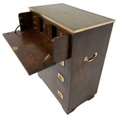 Antique English Secrétaire Campaign Chest with Brass Banded Leather Top