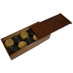 Antique English Set Ebony & Boxwood Draughts/Checkers/Backgammon Counters