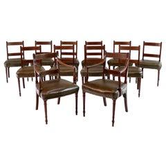 Antique English Set of Twelve George III Mahogany & Inlaid Dining Chairs