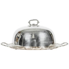 Antique English Sheffield Silver or Copper Two-Piece Covered Dome