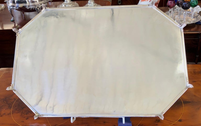 Antique English Sheffield Silver Plate Hand Engr Large 2-Handle Gallery Tea Tray For Sale 4