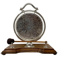 Antique English Sheffield Silver-Plated Gong on a Golden Oak Base, Circa 1920