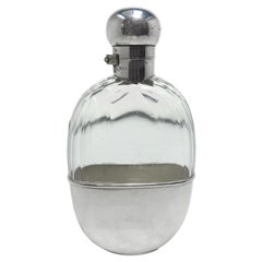 """Antique English Sheffield Silver Pumpkin Seed Flask Signed """"Mappin Webb Co."""""""