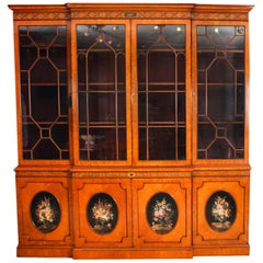 Antique English Sheraton Revival Satinwood Breakfront Bookcase, 19th Century