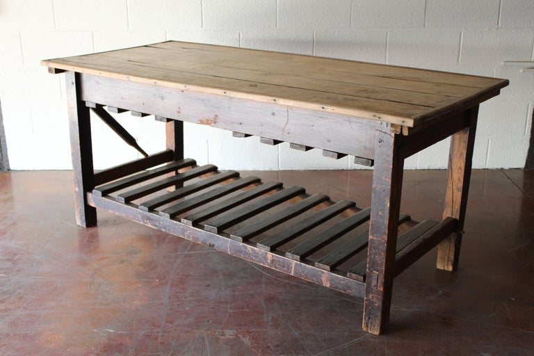 Antique English Silk Cutting Table For Sale 6