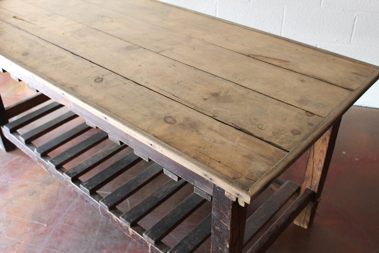 Industrial Antique English Silk Cutting Table For Sale