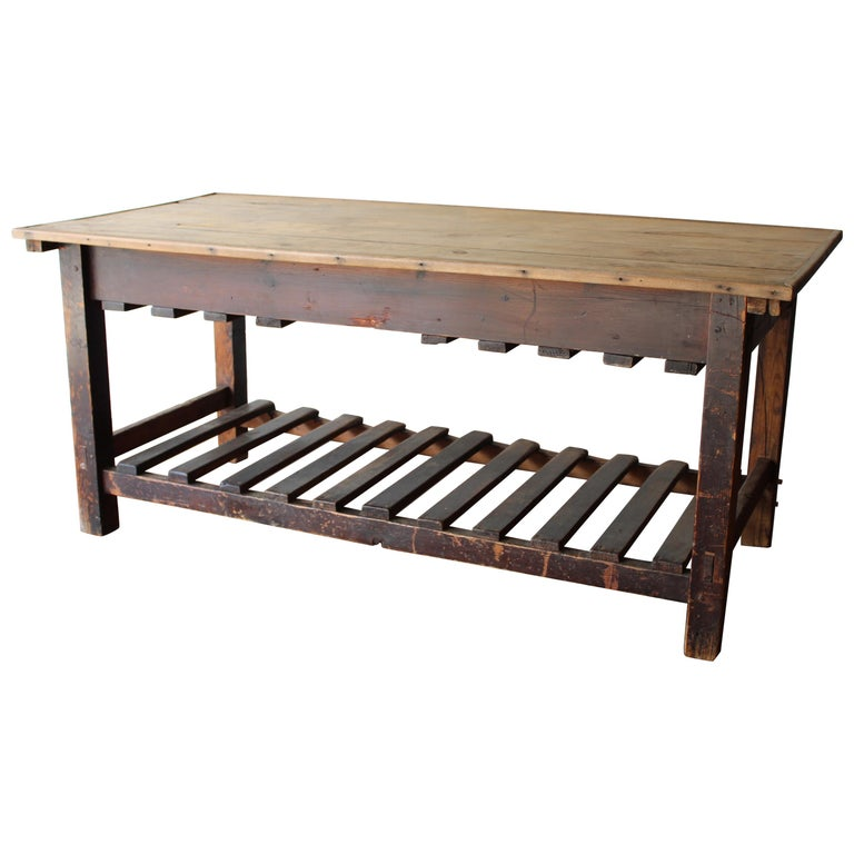 Antique English Silk Cutting Table For Sale