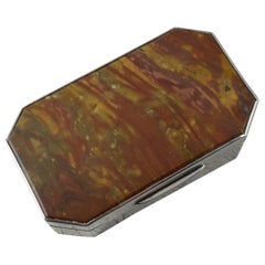 Antique English Silver and Agate Rectangular Jewellery or Snuff Box