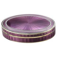 Antique English Silver Imported Purple Guilloche Enamel Box