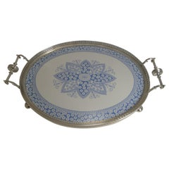 Antique English Silver Plate and Ceramic Blue and White Serving Tray, circa 1880