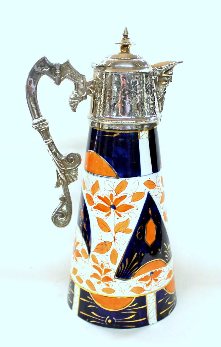 Aesthetic Movement Antique English Silver Plate and Rare Imari Decor Porcelain China Claret Jug For Sale