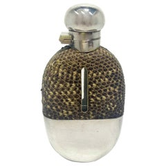 Antique English Silver-Plate and Snakeskin Hip Flask, Circa 1900
