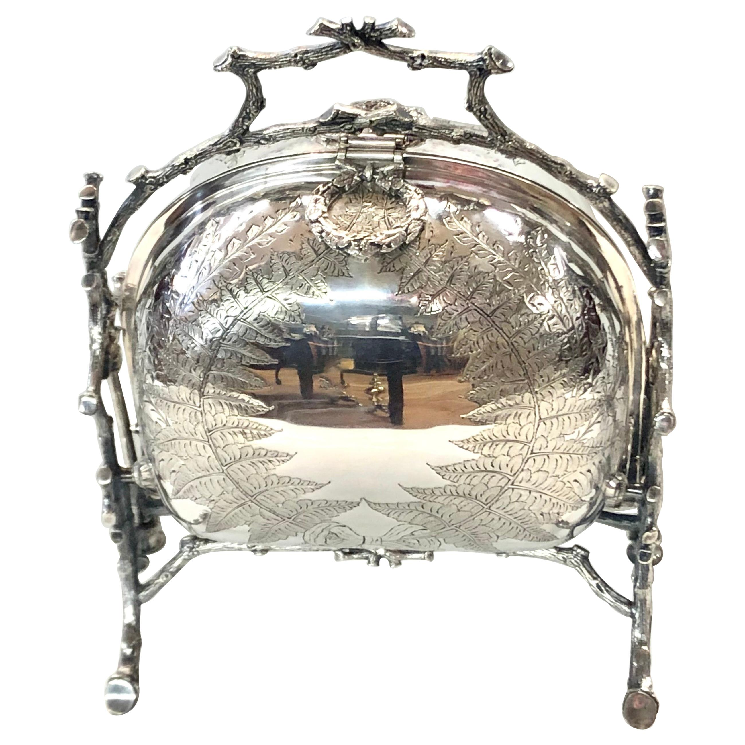Antique English Silver Plate Hand Chased Cushion Shape Folding Biscuit Box