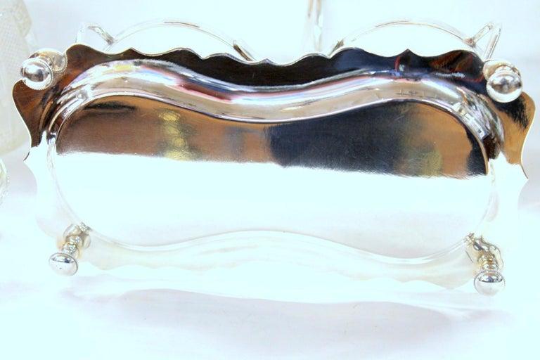 Antique English Silver Plate Hand-Cut Crystal Barrel Shape Double Jar Pickle Set For Sale 6