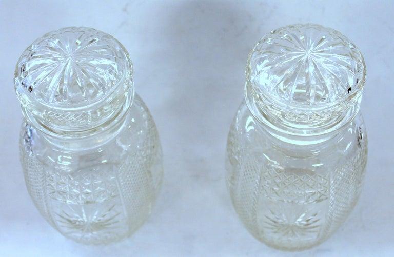 Antique English Silver Plate Hand-Cut Crystal Barrel Shape Double Jar Pickle Set For Sale 7