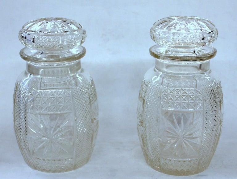 Antique English Silver Plate Hand-Cut Crystal Barrel Shape Double Jar Pickle Set For Sale 8
